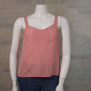 Eileen Fisher Large Pink Pintuck Tank Top Shell